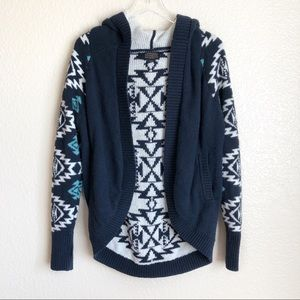 Pendleton blue white aztec print hooded cardigan